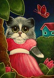 Art: BICOLOR PERSIAN CAT WITH NEW PINK DRESS IN HER GARDEN by Artist Cyra R. Cancel
