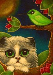 Art: BICOLOR PERSIAN CAT MET A GREEN HUMMINGBIRD by Artist Cyra R. Cancel