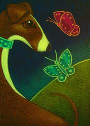 Art: GREYHOUND DOG MET THE BUTTERFLIES by Artist Cyra R. Cancel