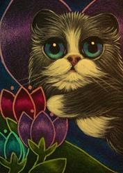 Art: TINY BICOLOR PERSIAN FAIRY KITTEN CAT IN MY GARDEN by Artist Cyra R. Cancel
