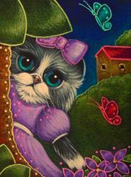 Art: SHY BICOLOR PERSIAN CAT WITH VIOLET DRESS PLAYING WITH THE BUTTERFLIES by Artist Cyra R. Cancel
