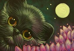 Art: BLACK KITTEN CAT WITH VIOLET FLOWERS & FULLMOON by Artist Cyra R. Cancel