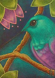 Art: VIOLET BELLIED HUMMINGBIRD IN MY GARDEN 2 by Artist Cyra R. Cancel