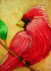 Art: RED CARDINAL BIRD MINIATURE OIL PAINTING by Artist Cyra R. Cancel