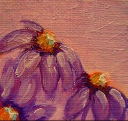Art: PURPLE VIOLET FLOWERS DOLLHOUSE MINIATURE OIL PAINTING by Artist Cyra R. Cancel