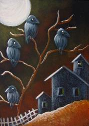 Art: RAVEN CROWS & WITCH HOUSE HALLOWEEN NIGHT by Artist Cyra R. Cancel