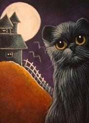 Art: BLACK CAT & WITCH HOUSE HALLOWEEN NIGHT by Artist Cyra R. Cancel