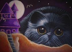 Art: FAT BLACK CAT & WITCH HOUSE HALLOWEEN NIGHT by Artist Cyra R. Cancel
