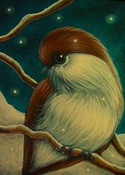 Art: TINY BOREAL CHICKADEE BIRD 1 by Artist Cyra R. Cancel