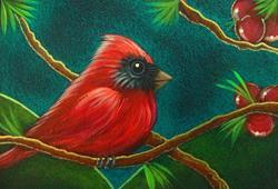 Art: TINY RED CARDINAL BIRD IN MY GARDEN 1 by Artist Cyra R. Cancel