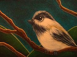 Art: TINY CHICKADEE BIRD IN MY GARDEN by Artist Cyra R. Cancel