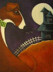 Art: GREYHOUND DOG & WITCH HOUSE HALLOWEEN NIGHT by Artist Cyra R. Cancel