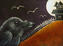 Art: RAVEN CROW BIRD & WITCH HOUSE HALLOWEEN NIGHT by Artist Cyra R. Cancel