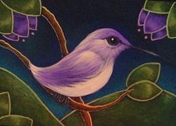 Art: TINY VIOLET HUMMINGBIRD by Artist Cyra R. Cancel