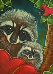 Art: RACCOONS WITH HEARTS AND CARDINAL BIRD by Artist Cyra R. Cancel