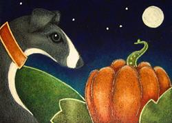 Art: GREYHOUND DOG WITH 1ST HALLOWEEN PUMPKIN by Artist Cyra R. Cancel