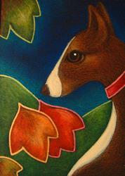 Art: IBIZAN OR PHARAOH HOUND DOG WITH AUTUMN LEAVES by Artist Cyra R. Cancel
