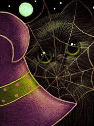 Art: BLACK CAT WITH PURPLE WITCH HAT HALLOWEEN by Artist Cyra R. Cancel