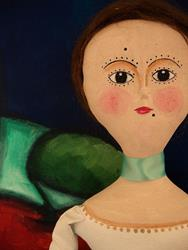 Art: OOAK QUEEN ANNE DOLL CLOTH DOLL 16 TALL by Artist Cyra R. Cancel