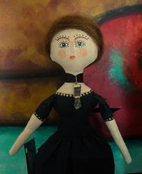 Art: OOAK TINY WITCH QUEEN ANNE CLOTH DOLL 9.5 TALL by Artist Cyra R. Cancel