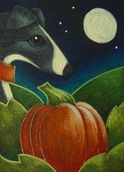 Art: GREYHOUND DOG WITH HIS/HER 1ST HALLOWEEN PUMPKIN by Artist Cyra R. Cancel