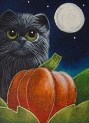Art: BLACK CAT WITH HIS/HER 1ST HALLOWEEN PUMPKIN by Artist Cyra R. Cancel