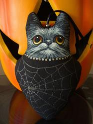 Art: OOAK BLACK CAT CLOTH ORNAMENT 1 - 7.5 TALL by Artist Cyra R. Cancel