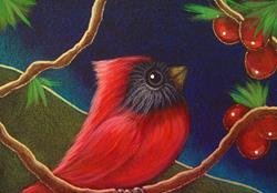 Art: TINY RED CARDINAL BIRD WITH BERRIES by Artist Cyra R. Cancel
