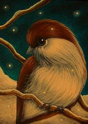 Art: TINY BOREAL CHICKADEE BIRS 1ST SNOW by Artist Cyra R. Cancel