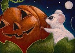 Art: TINY WHITE MOUSE - A HALLOWEEN PUMPKIN WITH A FACE by Artist Cyra R. Cancel