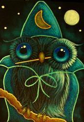 Art: FANTASY HALLOWEEN OWL WIZARD COSTUME by Artist Cyra R. Cancel