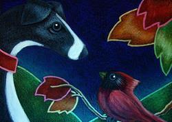Art: GREYHOUND DOG TALKING TO A CARDINAL BIRD by Artist Cyra R. Cancel