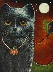 Art: BLACK CAT WITH PUMPKIN PENDANT HALLOWEEN NIGHT by Artist Cyra R. Cancel