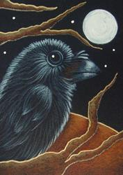 Art: RAVEN CROW AUTUMN HALLOWEEN NIGHT by Artist Cyra R. Cancel