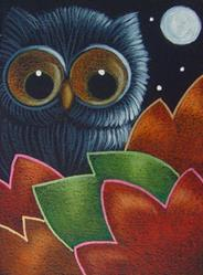 Art: BLACK OWL WITH AUTUMN LEAVES by Artist Cyra R. Cancel
