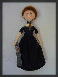 Art: OOAK Tiny Queen Witch Folk Art Cloth Doll 9.5 Tall by Artist Cyra R. Cancel