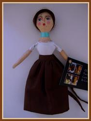 Art: OOAK TINY QUEEN FOLK ART CLOTH DOLL 7 TALL by Artist Cyra R. Cancel