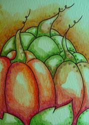 Art: PUMPKINS ACEO PAINTING by Artist Cyra R. Cancel
