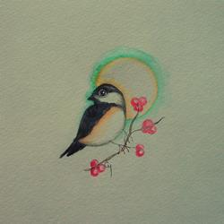 Art: TINY CHICKADEE WITH BERRIES 5X 5WATERCOLOR by Artist Cyra R. Cancel