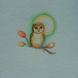 Art: TINY BARN OWL & AUTUMN LEAVES WATERCOLOR 5 X 5 by Artist Cyra R. Cancel