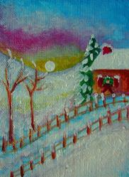 Art: WINTER WITH SNOW & CHRISTMAS ORNAMENT BY THE WINDOW ACEO by Artist Cyra R. Cancel