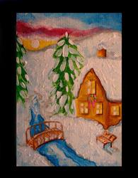 Art: WINTER HOLIDAY CHRISTMAS PEACE CABIN & SNOW by Artist Cyra R. Cancel
