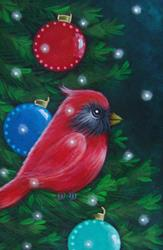 Art: HOLIDAY CARDINAL BIRD WITH ORNAMENTS IN CHRISTMAS TREE & SNOW by Artist Cyra R. Cancel