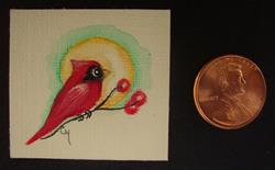 Art: HOLIDAY TINY CARDINAL BIRD WITH BERRIES DOLLHOUSE PAINTING 1.5 X 1.5 by Artist Cyra R. Cancel