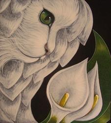 Art: WHITE ANGEL CAT WITH CALLA LILLIES F2 by Artist Cyra R. Cancel