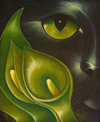 Art: Z BLACK CAT BEHIND THE GREEN CALLA LILLIES by Artist Cyra R. Cancel