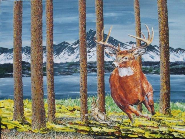 Art: Deer w Red Dot   Copy by Artist Leonard G. Collins