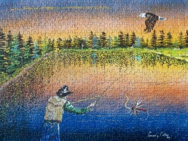 Art: Fly Fishing Puzzle by Leonard G. Collins by Artist Leonard G. Collins
