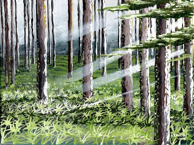 Art: ferns in woods 2   Copy by Artist Leonard G. Collins