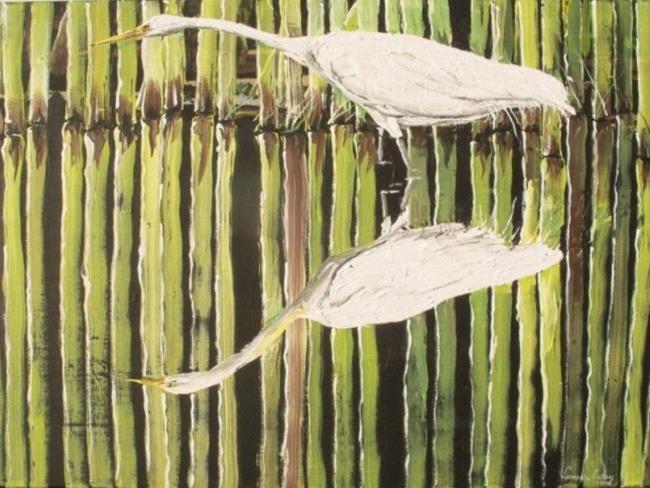 Art: Egret Reflections   Copy by Artist Leonard G. Collins